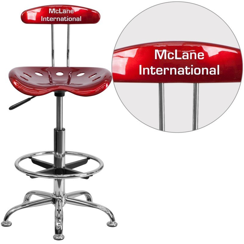 Flash Furniture Personalized Vibrant Wine Red and Chrome Drafting Stool with Tractor Seat