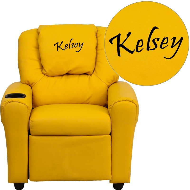 Flash Furniture Personalize Yellow Vinyl Kids Recliner with Cup Holder and Headrest