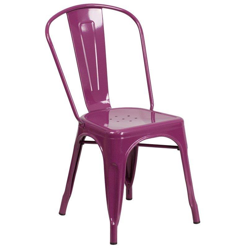 Flash Furniture Purple Metal Indoor-Outdoor Stackable Chair