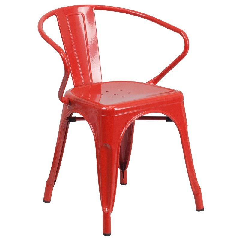 Flash Furniture Red Metal Indoor-Outdoor Chair with Arms