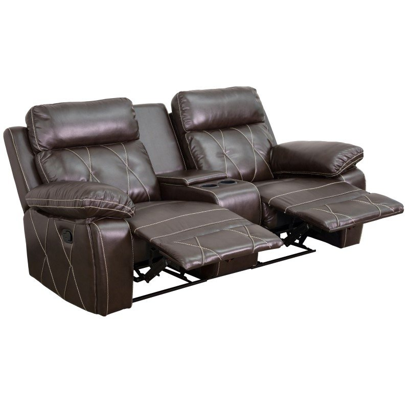 Flash Furniture Reel Comfort Series 2-Seat Reclining Brown Leather Theater Seating Unit with Straight Cup Holders