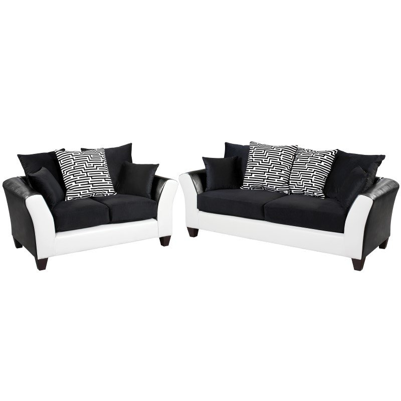 Flash Furniture Riverstone Implosion Black Velvet Living Room Set