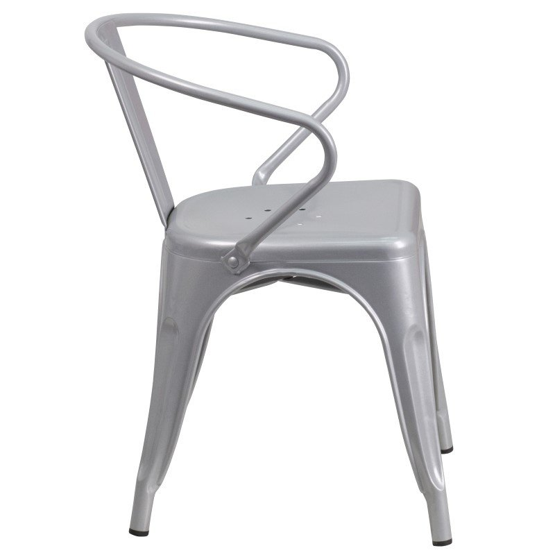Flash Furniture Silver Metal Indoor-Outdoor Chair with Arms