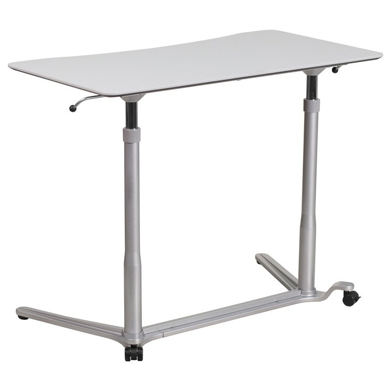 "Flash Furniture Sit-Down - Stand-Up Light Gray Computer Desk with 37.375""W Top (Adjustable Range 29"" - 40.75"") (NAN-IP-6-1-GG)"