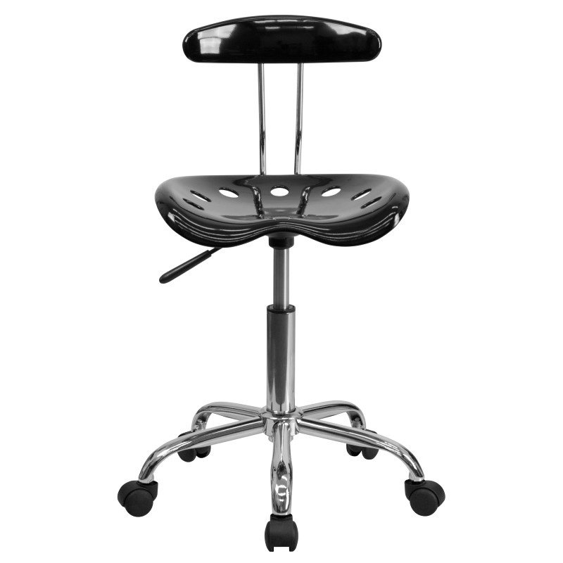 Flash Furniture Vibrant Black and Chrome Task Chair with Tractor Seat