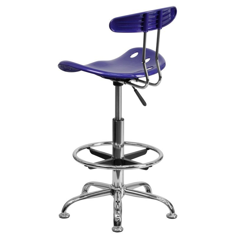 Flash Furniture Vibrant Deep Blue and Chrome Drafting Stool with Tractor Seat