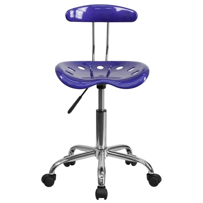 Flash Furniture Vibrant Deep Blue and Chrome Task Chair with Tractor Seat
