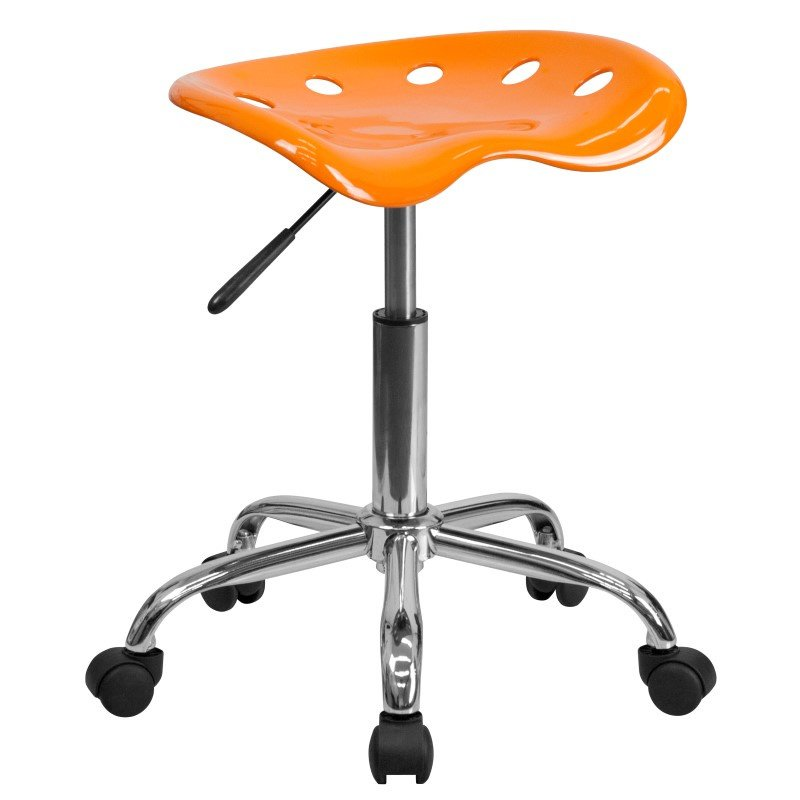 Flash Furniture Vibrant Orange Tractor Seat and Chrome Stool