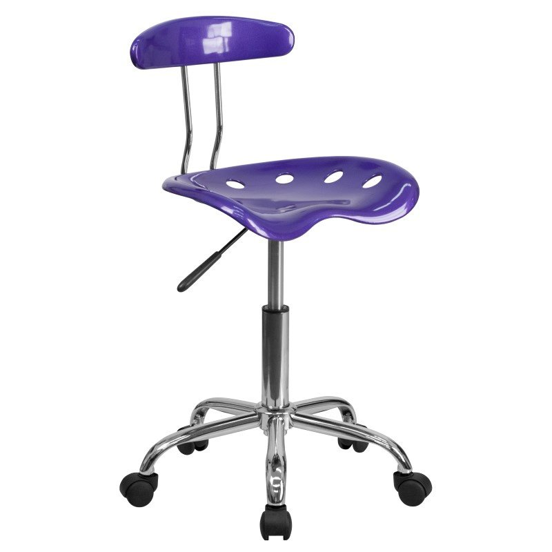 Flash Furniture Vibrant Violet and Chrome Task Chair with Tractor Seat