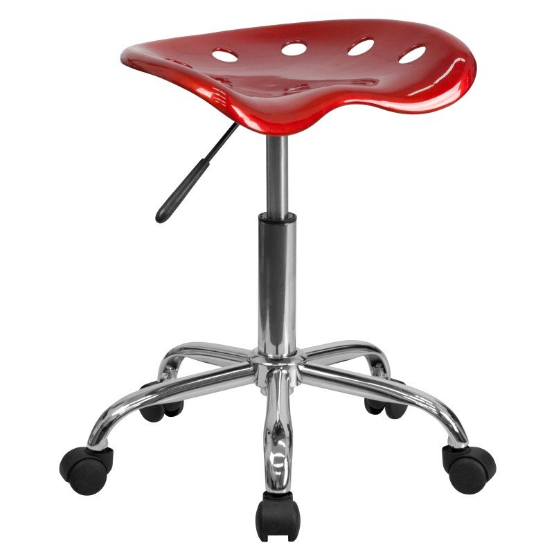 Flash Furniture Vibrant Wine Red Tractor Seat and Chrome Stool