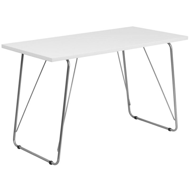 Flash Furniture White Computer Desk with Silver Frame (NAN-JN-2956-WH-GG)