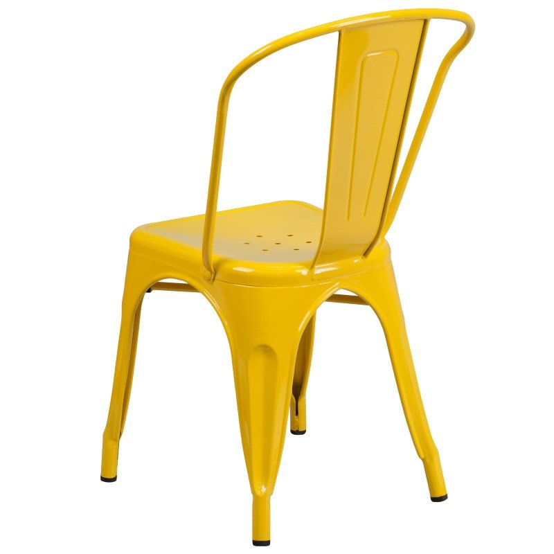 Flash Furniture Yellow Metal Indoor-Outdoor Stackable Chair