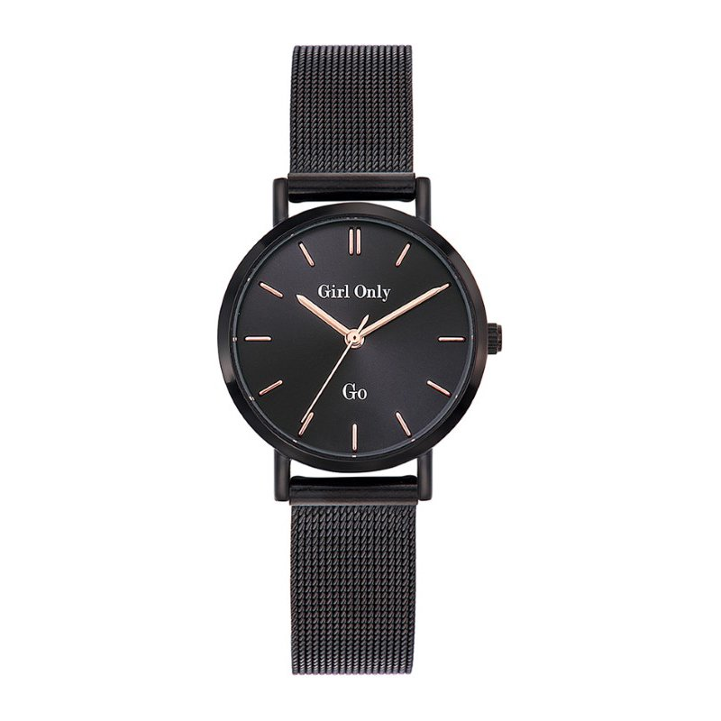 GO Girl Only Candide Quartz Ladies Watch in Black Dial and Black Case with Black Steel Mesh Band (695988)