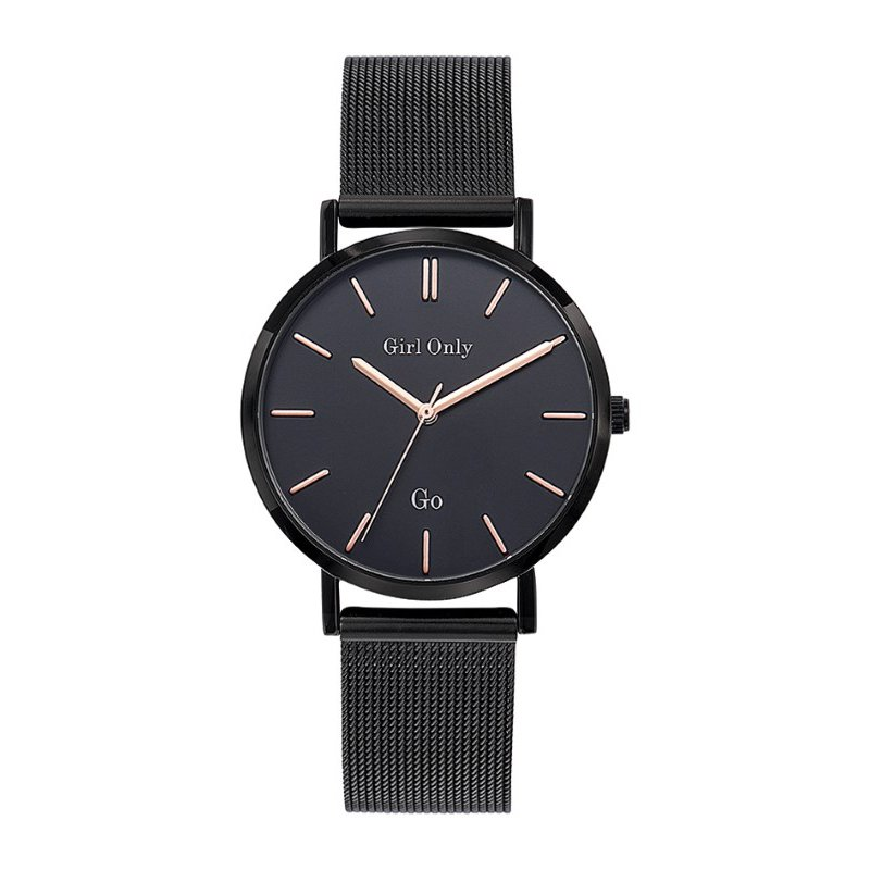 GO Girl Only Candide Quartz Ladies Watch in Black Dial and Black Case with Black Steel Mesh Band (695993)