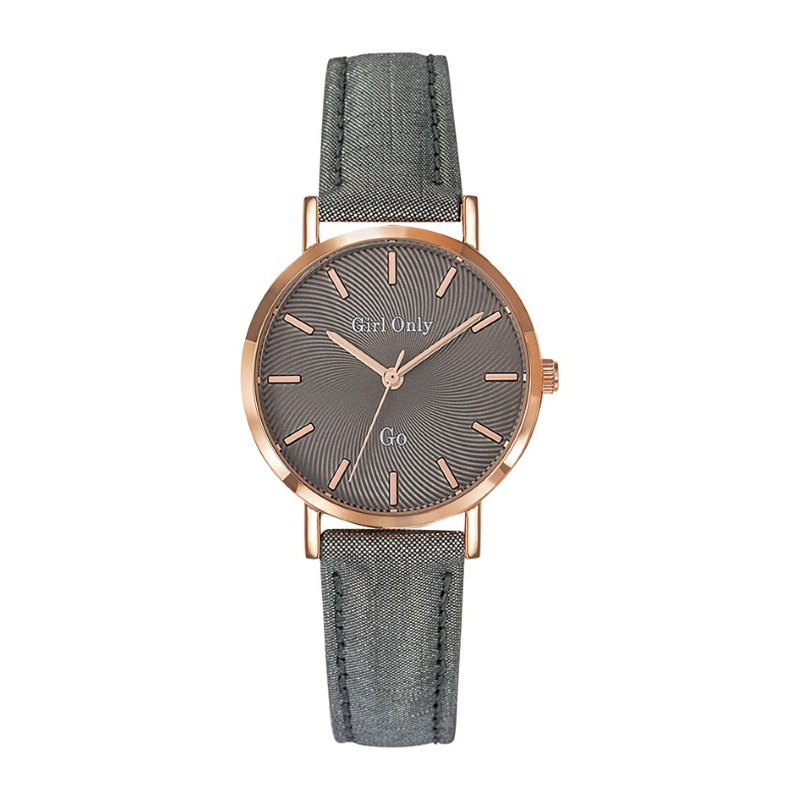 GO Girl Only Candide Quartz Ladies Watch in Coffee Dial and Rose Gold Case with Dark Gray Leather Band (699074)