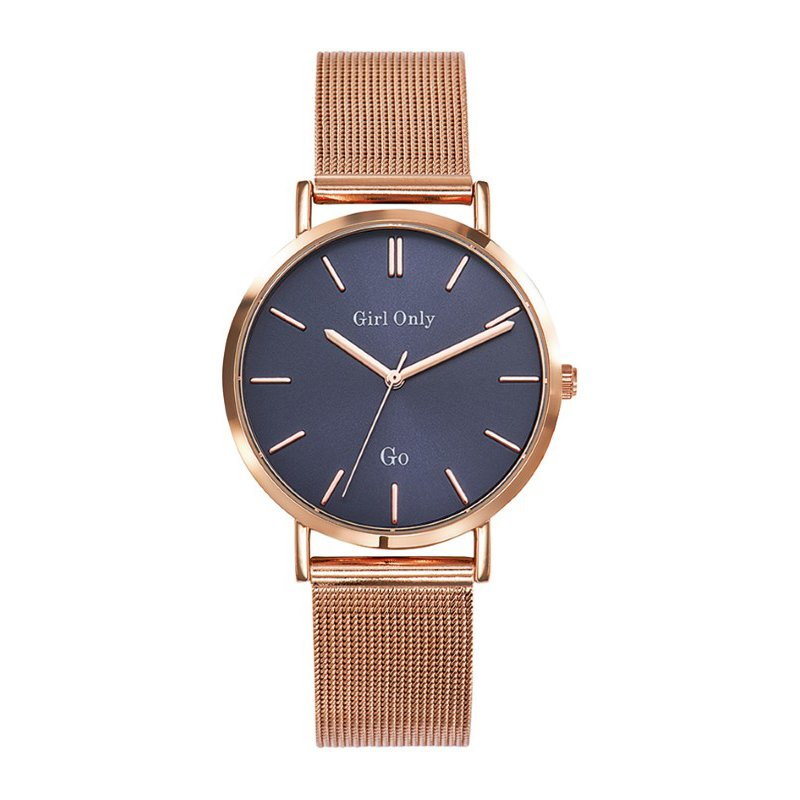 GO Girl Only Candide Quartz Ladies Watch in Dark Blue Dial and Rose Gold Case with Rose Gold Steel Mesh Band (695905)