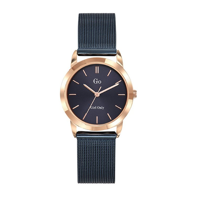 GO Girl Only Candide Quartz Ladies Watch in Eggplant Dial and Rose Gold Case with Dark Blue Steel Mesh Band (695191)