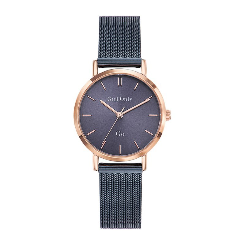 GO Girl Only Candide Quartz Ladies Watch in Eggplant Dial and Rose Gold Case with Dark Blue Steel Mesh Band (695987)