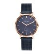 GO Girl Only Candide Quartz Ladies Watch in Eggplant Dial and Rose Gold Case with Dark Blue Steel Mesh Band (695992)