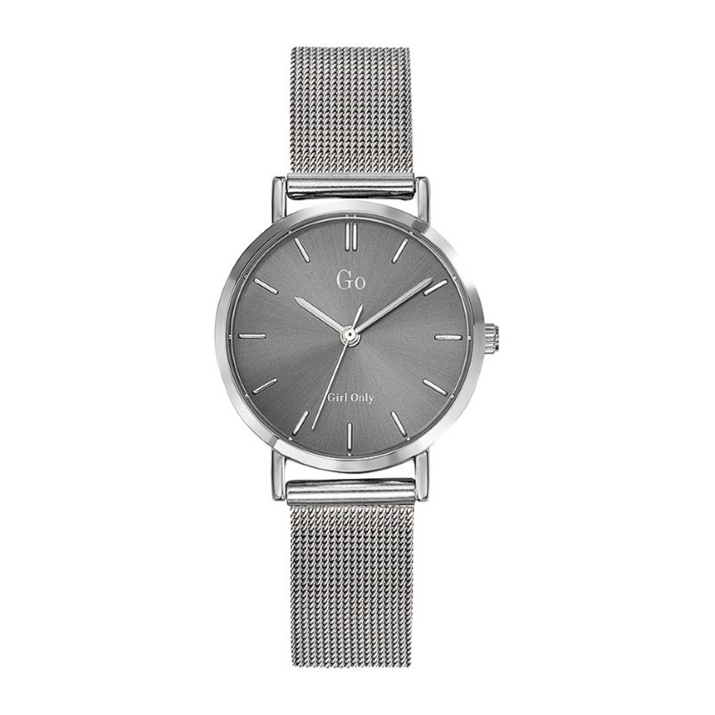 GO Girl Only Candide Quartz Ladies Watch in Silver Dial and Silver Case with Silver Steel Mesh Band (695959)