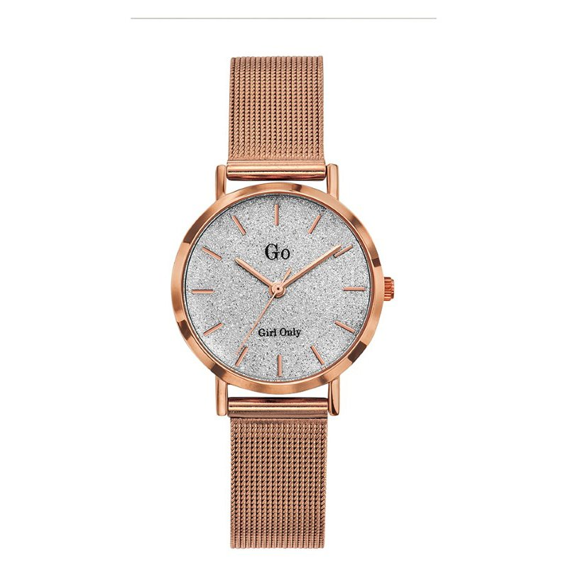 GO Girl Only Candide Quartz Ladies Watch in Sparkling Silver Dial and Rose Gold Case with Rose Gold Steel Mesh Band (695947)