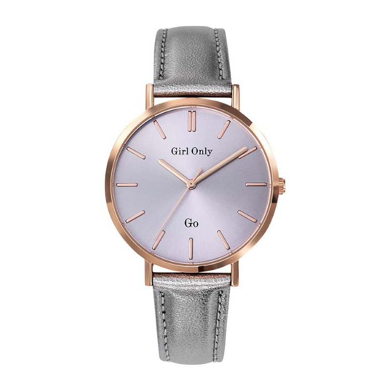GO Girl Only Candide Quartz Ladies Watch in Thistle Purple Dial and Rose Gold Case with Gray Leather Band (699066)