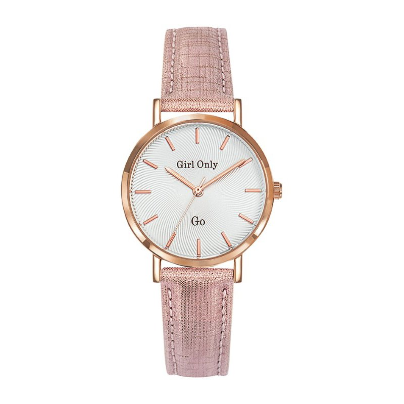 GO Girl Only Candide Quartz Ladies Watch in White Dial and Rose Gold Case with Pink Leather Band (699073)