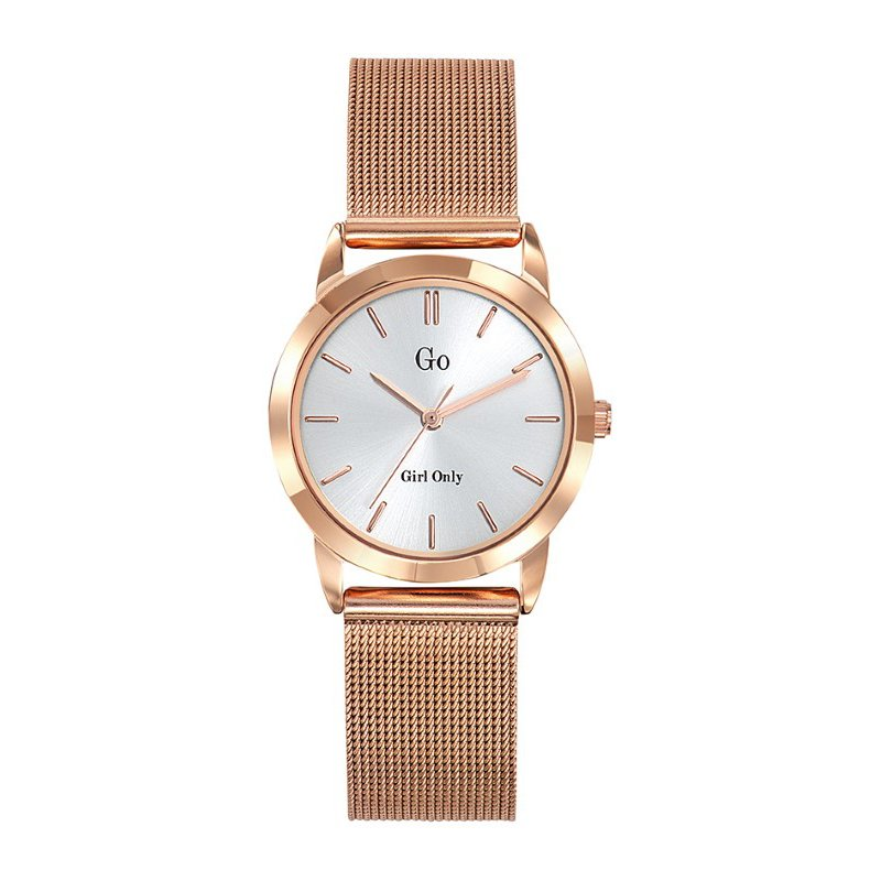 GO Girl Only Candide Quartz Ladies Watch in White Dial and Rose Gold Case with Rose Gold Steel Mesh Band (695190)