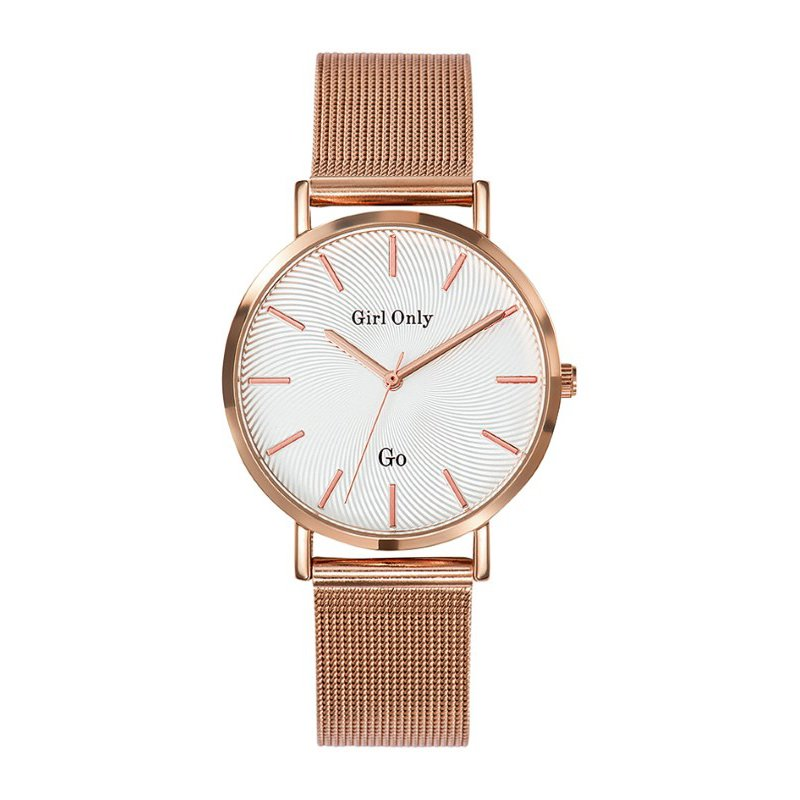 GO Girl Only Candide Quartz Ladies Watch in White Dial and Rose Gold Case with Rose Gold Steel Mesh Band (695904)