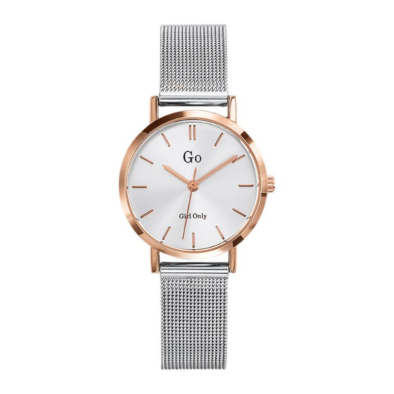 GO Girl Only Candide Quartz Ladies Watch in White Dial and Rose Gold Case with Silver Steel Mesh Band (695960)