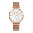GO Girl Only Candide Quartz Ladies Watch in White Dial and Rose Gold Case with Rose Gold Steel Mesh Band (695995)