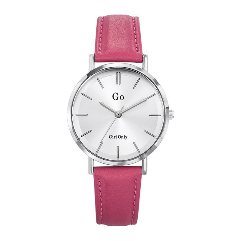 GO Girl Only Candide Quartz Ladies Watch in White Dial and Silver Case with Pink Leather Band (698941)