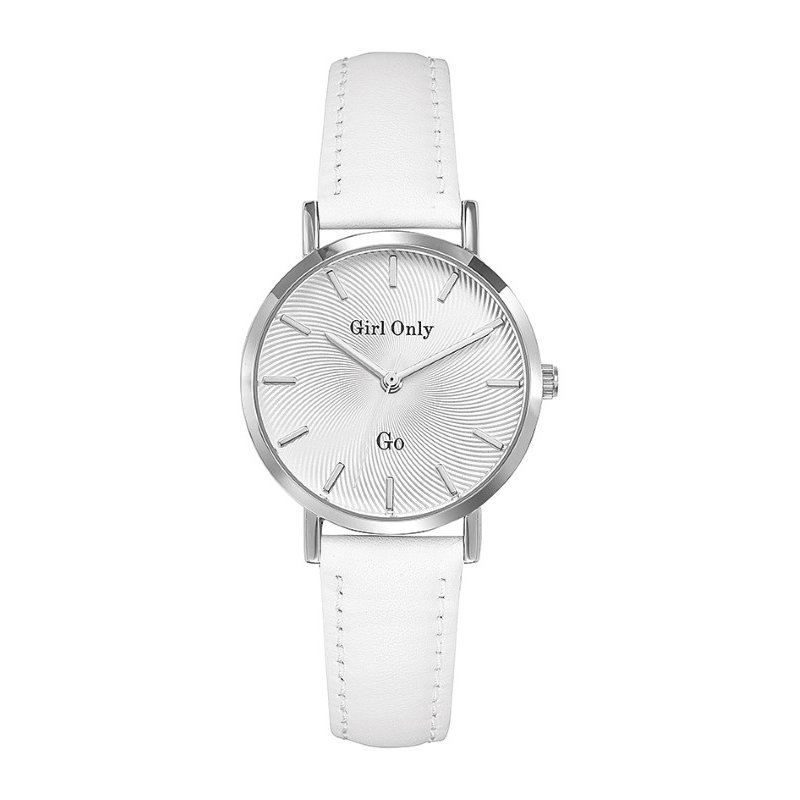 GO Girl Only Candide Quartz Ladies Watch in White Dial and Silver Case with White Leather Band (699048)