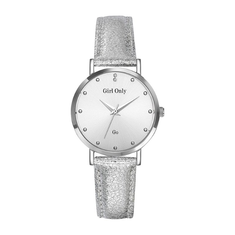 GO Girl Only Candide Quartz Ladies Watch in White Dial and Silver Case with Silver Leather Band (699070)