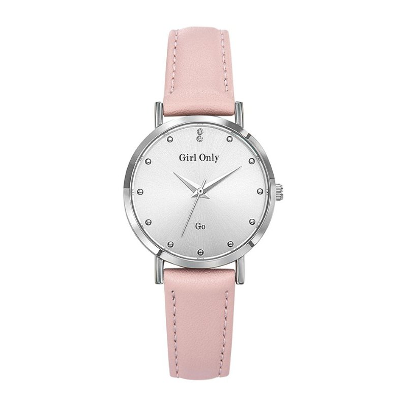 GO Girl Only Candide Quartz Ladies Watch in White Dial and Silver Case with Pink Leather Band (699071)