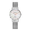 GO Girl Only Candide Quartz Ladies Watch in White Dial and Silver Case with Silver Steel Mesh Band (695900)