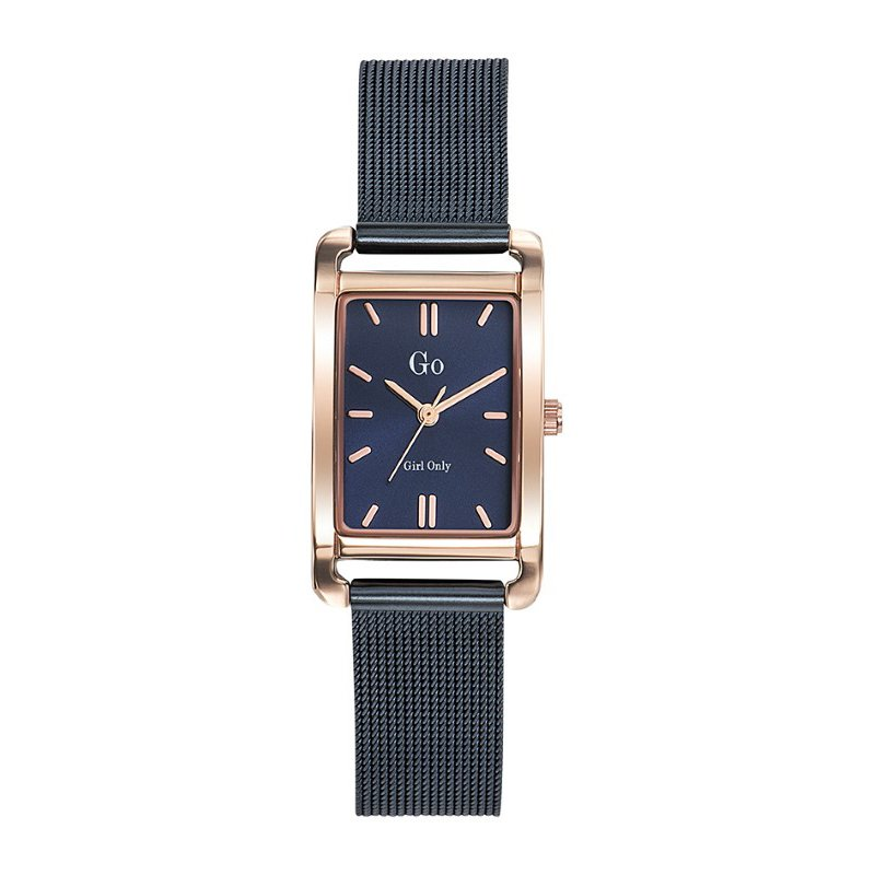 GO Girl Only Elegante Quartz Ladies Watch in Blue Dial and Rose Gold Case with Dark Blue Steel Mesh Band (695157)