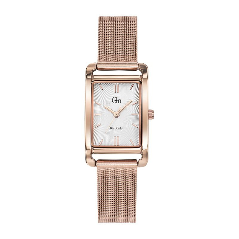 GO Girl Only Elegante Quartz Ladies Watch in White Dial and Rose Gold Case with Rose Gold Steel Mesh Band (695166)
