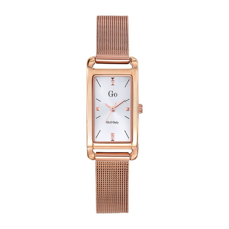GO Girl Only Elegante Quartz Ladies Watch in White Dial and Rose Gold Case with Rose Gold Steel Mesh Band (695204)