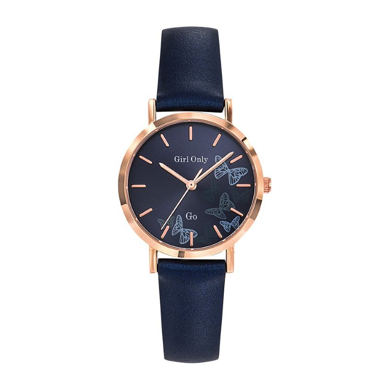 GO Girl Only Florale Quartz Ladies Watch in Dark Blue Dial and Rose Gold Case with Dark Blue Leather Band (699083)
