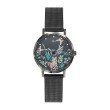 GO Girl Only Florale Quartz Ladies Watch in Floral Black Dial and Black Case with Black Steel Mesh Band (695201)