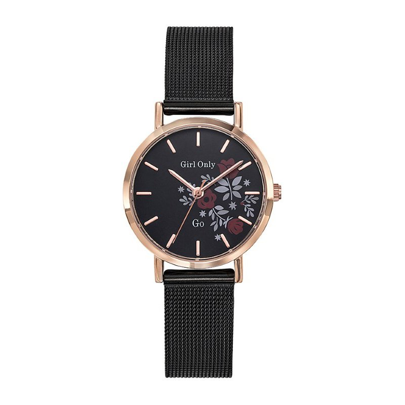 GO Girl Only Florale Quartz Ladies Watch in Floral Black Dial and Rose Gold Case with Black Steel Mesh Band (695921)