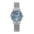 GO Girl Only Florale Quartz Ladies Watch in Floral Blue Dial and Silver Case with Silver Steel Mesh Band (695198)