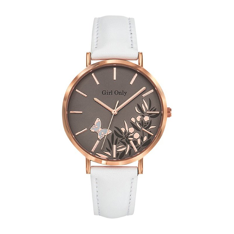GO Girl Only Florale Quartz Ladies Watch in Floral Coffee Dial and Rose Gold Case with White Leather Band (699090)