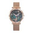 GO Girl Only Florale Quartz Ladies Watch in Floral Dark Gray Dial and Rose Gold Case with Rose Gold Steel Mesh Band (695186)