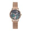 GO Girl Only Florale Quartz Ladies Watch in Floral Dark Gray Dial and Rose Gold Case with Rose Gold Steel Mesh Band (695199)