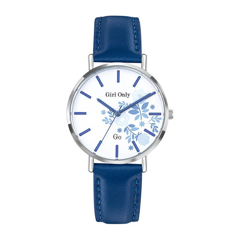 GO Girl Only Florale Quartz Ladies Watch in Floral White Dial and Silver Case with Blue Leather Band (699010)