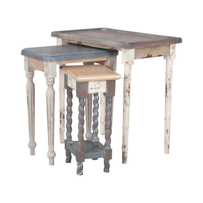 Guild Master Artifacts Nesting Tables In Multi Stain Collage Finish (7115539S)