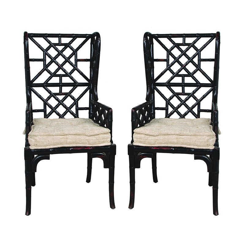 Guild Master Bamboo Wing Back Chair (659522PWMLB)