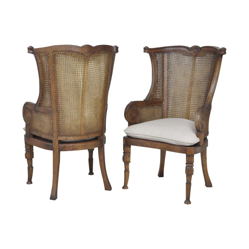 Guild Master Caned Wing Back Chairs In New Signature Stain - Set of 2 (6915513P)